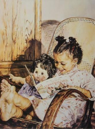 Beth Palser, (EUA, contemporânea), Hora da Leitura, 2007, aquarela