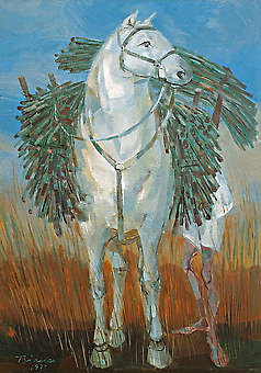 BIANCO, Enrico,Carregando Cana, 1973,óleo s chapamad. ind., 35 x 25 cm