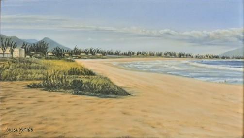 CARLOS MARTINS (BRASIL, 1946) Praia no Recreio dos Bandeirantes, óleo s tela, 27 x 46. Assinado no c.i.e. e datado (1988) no verso.