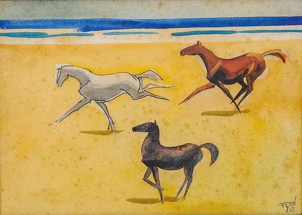 CARYBÉ, HECTOR(ARGENTINA-BRASIL, 1911-1997)Marinha com Cavalos,Têmpera e vinil,1958, 25 x 35 cm
