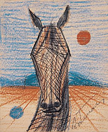 Cândido Portinari, Cabeça de Cavalo, lápis de cera, sd, 10x8,5