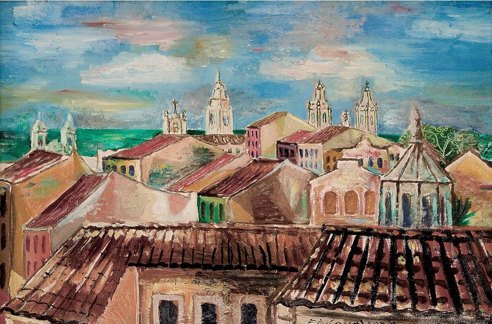 Emiliano Di Cavalcanti, Telhados do Recife, Óleo sobre tela, Assinado inferior direito,38 x 55 cm