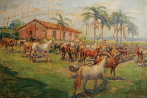 GEORGINA DE ALBUQUERQUE (Taubaté, São Paulo, 1885 - Rio de Janeiro, 1962) Cena Rural com Cavalos. Óleo stela. Ass. cie. 60 x 88 cm.