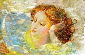 ISOLDA,Moça Reclinada Lendo, aquarela e pastel spapel,29 x 44 cm