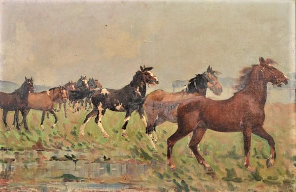 JORDÃO DE OLIVEIRA (1900 -1980). Cavalos no Campo, óleo s tela, 60 x 92. Assinado e datado (1935) no c.i.d.