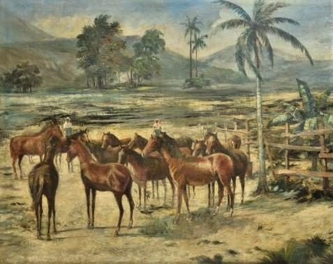 Lucilio de Albuquerque - (1877 - 1939) - Cena do interior com cavalos - OST - Assinado CID - Med. 85 x 107 cm