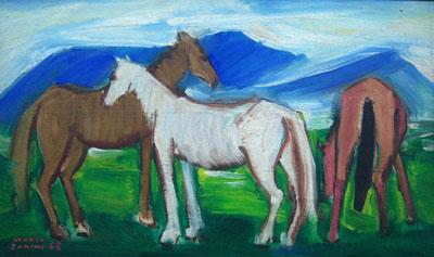 Mario Zanini (1907-1971) Cavalos,1963,ost,34x57