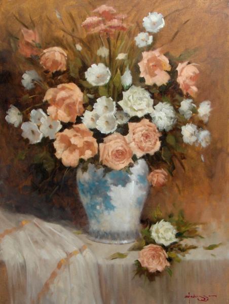 ZELIO ANDREZZO - Vaso de flores - Óleo sobre tela, Assinado canto inferior direito, Medindo 80 x 60 cm