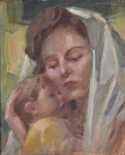 AURELIO D'ALINCOURT (1919 - 1990)Maternidade, óleo sobre eucatex, 41 x 33 cm