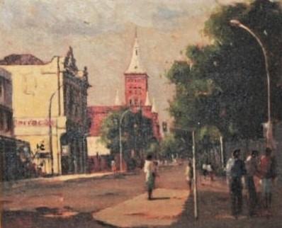 Botelho, Raimundo H. - Paisagem Urbana, 1994 - Torre dos bombeiros - o.s.t. ass. c.i.e., ass., datado e localizado no verso med. 60 x 50 cm