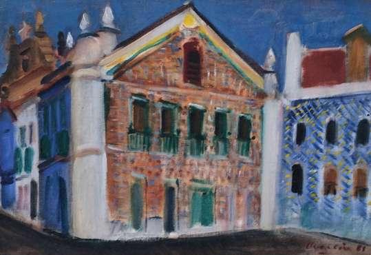 EMERIC MARCIER (1916 - 1990),Santarém,Óleo s tela colada em cartão Datado de 1981, 24 x 35 cm
