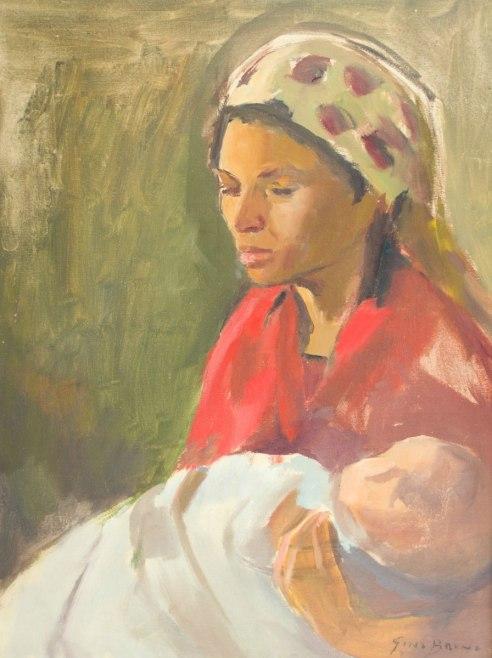 GINO BRUNO - (Brasil,1889 - 1977)Maternidade - óleo sobre tela - 80 x 61 cm