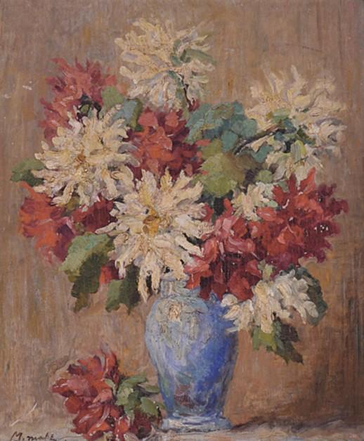 MABE, Manabu (1924 - 1997)Vaso de flores;1949 Óleo chapa de madeira 46 x 36 cm