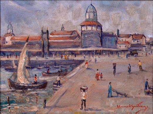 MANOEL SANTIGO (1897 - 1987) - Marinha com Barcos - Praça XV-RJ, pintura a óleo sobre madeira, med. 27 x 24cm, assinado frente e verso.