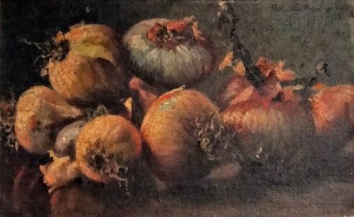 Maria Amélia D'Assumpção (Brasil 1883-1955)Natureza morta com cebolas, 1924, ost, 24 x 40 cm