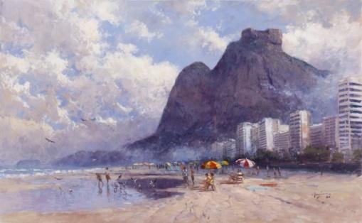 Mauro Ferreira - Praia de São Conrado-RJ - 46 x 75 cm - OST - Ass. CID e Dat. 2012