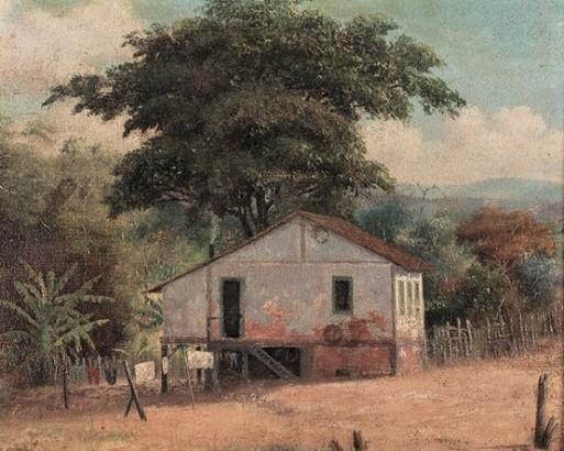 MODESTO BROCOS (Espanha-Brasil, 1852 – 1936) O sitio do meu vizinho - Óleo sobre tela colado em madeira - 36x42 cm