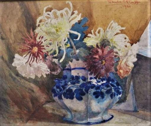 Paulo Rossi, Vaso com Flores, aquarela, medindo 25 cm x 30 cm, assinado no canto superior direito.