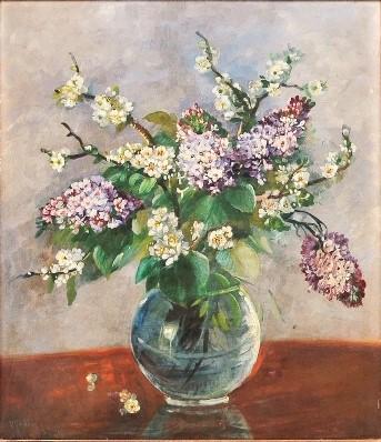 VITTORIO GOBBIS (1894-1968). Vaso com Flores Amor-Perfeito, óleo stela, 68 x 57. Assinado, datado (1952) e localizado (São Paulo)
