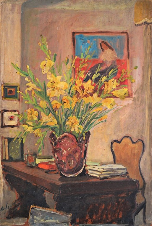 Arlindo Castellani de Carli (Brasil, 1910-1985)- Composição com vaso de flor- óleo sobre placa, medindo 68x46cm, assinado