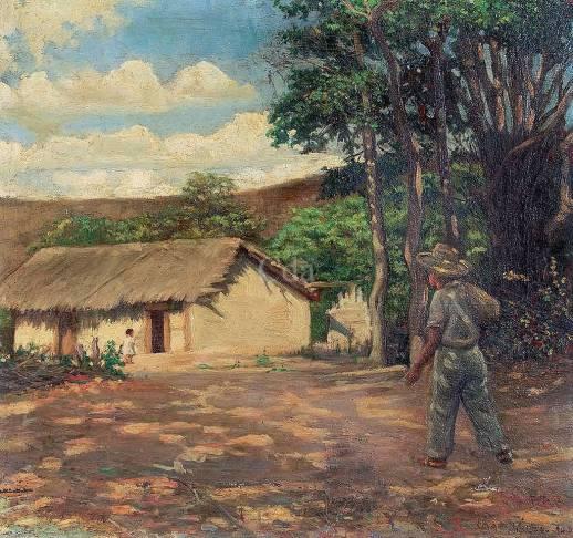 Edgar Walter (Brasil, 1917-1994) Paisagem, óleo sobre madeira, 1943, 37 x 40cm