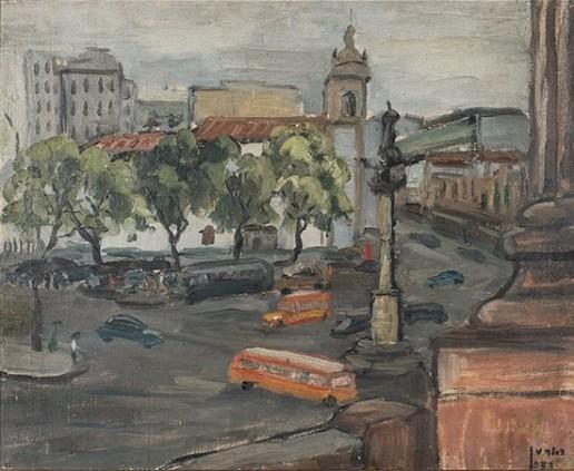 JOÃO BAPTISTA DE PAULA FONSECA, Paisagem urbana do Rio de Janeiro - Óleo sobre tela - 50x60 cm - ACID e VERSO 1957