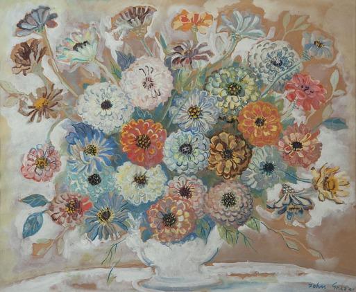 JOHN GRAZ,Flores,Guache. Ass. dat. 1944 inf. dir. 49 x 60 cm.