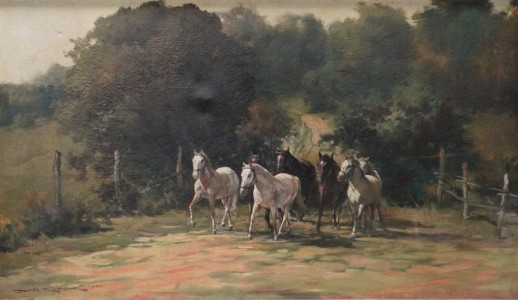 KOSAK, CAROL (POLONIA, 1895-1968)Cavalos,o.s.t. - datado 1962,79x139cm