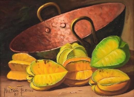 NILTON BRAVO (1937-2005). Tacho e Carambolas, óleo s tela, 18 X 24. Assinado e datado (1987)