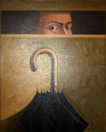 ADILSON SANTOS. Auto retrato - Série O Tempo e eu, ost, medindo 81 x 65 cm. Assinado e datado.