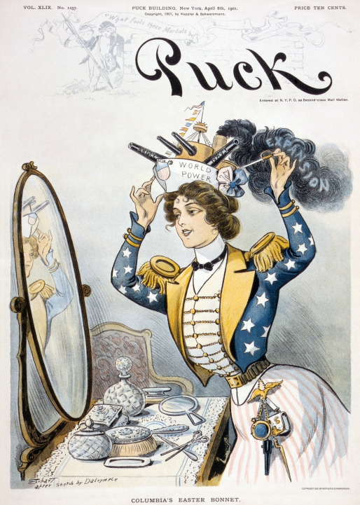 Columbia wearing a warship bearing the words World Power as her Easter bonnet, cover of Puck (April 6, 1901). It was published from 1871 until 1918.jpg