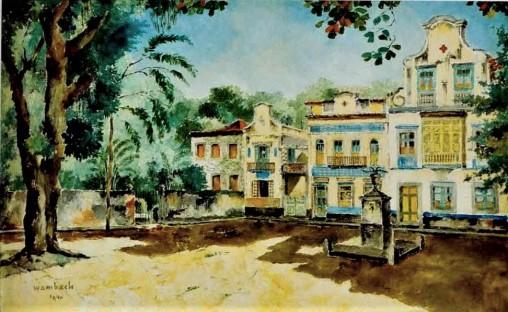 Georges Wambach Técnica Óleo sobre Tela Dim. 45 x 72 cm, Largo do Boticário, 1940