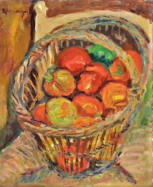 KAMINAGAI,TADASHI (1889-1982). Cesto de Tomate sobre a Cadeira, óleo s tela, 46 X 38.
