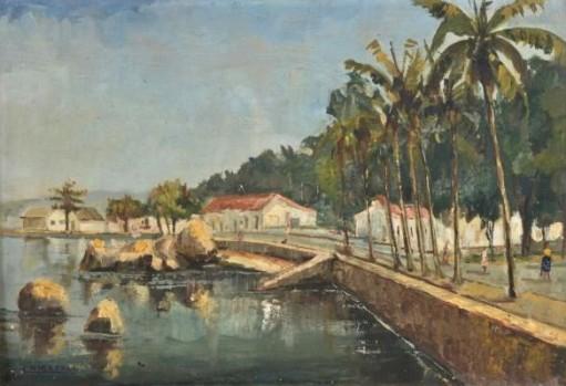 LUZIA CHIARELLI - Ribeira, Ilha do Governador. óleo sobre tela, 36 x 53 cm. Assinado no canto inferior esquerdo. No verso localizado, assinado, titulado e datado, 1964.