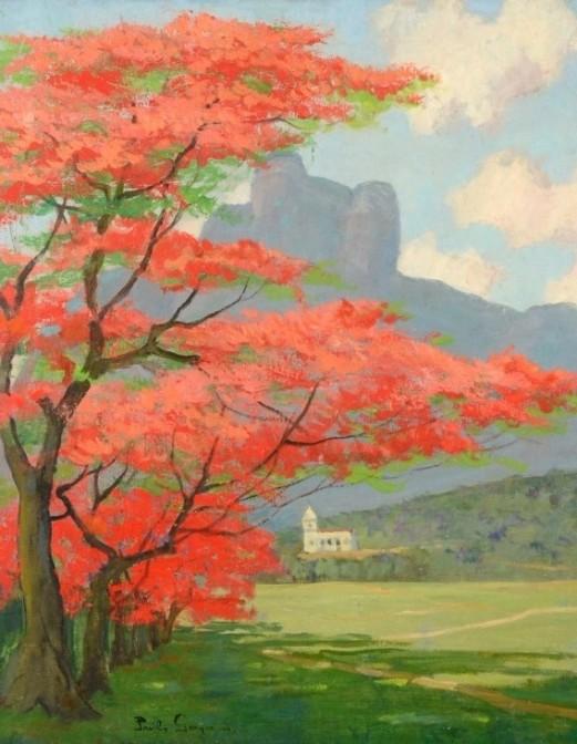 PAULO GAGARIN (Príncipe) - Paisagem com Flamboyant óleo sobre tela, 72 x 59 cm. Assinado no canto inferior esquerdo. São Conrado