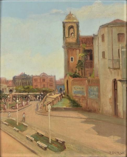 RAUL DEVEZA (1891 - 1952). Cena Urbana na Praça João Lisboa em São Luiz -Maranhão, óleo s tela, 53 x 45. Assinado no c.i.d. e identificado (São Luiz - 1951)
