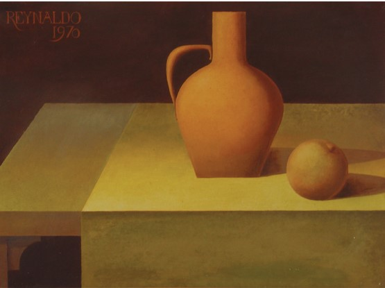 REYNALDO FONSÉCA (1925), Moringa e fruta. 1970 Óleo sobre tela, 54 x 73 cm.