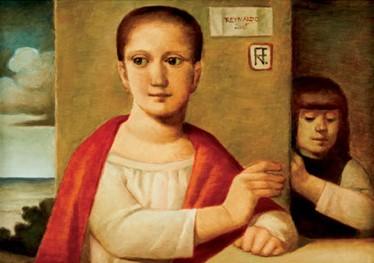 REYNALDO FONSECA (1925) Duas figuras - Óleo s tela - 50 x 70 cm - ass. superior direito e verso 2005.