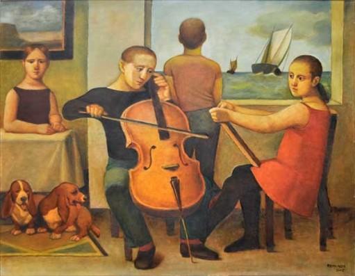 REYNALDO FONSECA (1925) - Janela para o Mar. Óleo stela. Ass. cid. datado 2002. Ass. e datado no verso. Med. 120 x 152 cm.