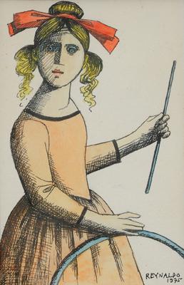 Reynaldo Fonseca (1925) Menina com bambolê, 1975, nanquim sobre papel, 14x19