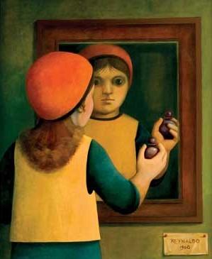 REYNALDO FONSECA (1925) Menina no espelho - 100 x 81 cm - ass. inf. direito 1968