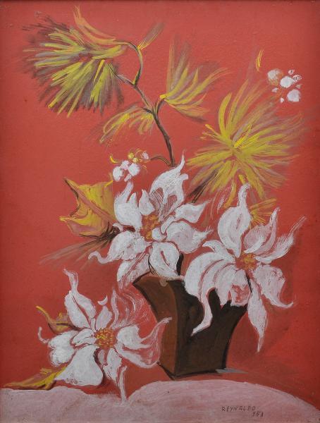 REYNALDO FONSECA (1925) - Natureza Morta,Vaso de Flores, técnica mista, óleo sobre cartão, 63 x 49cm, assinado e datado 1953.