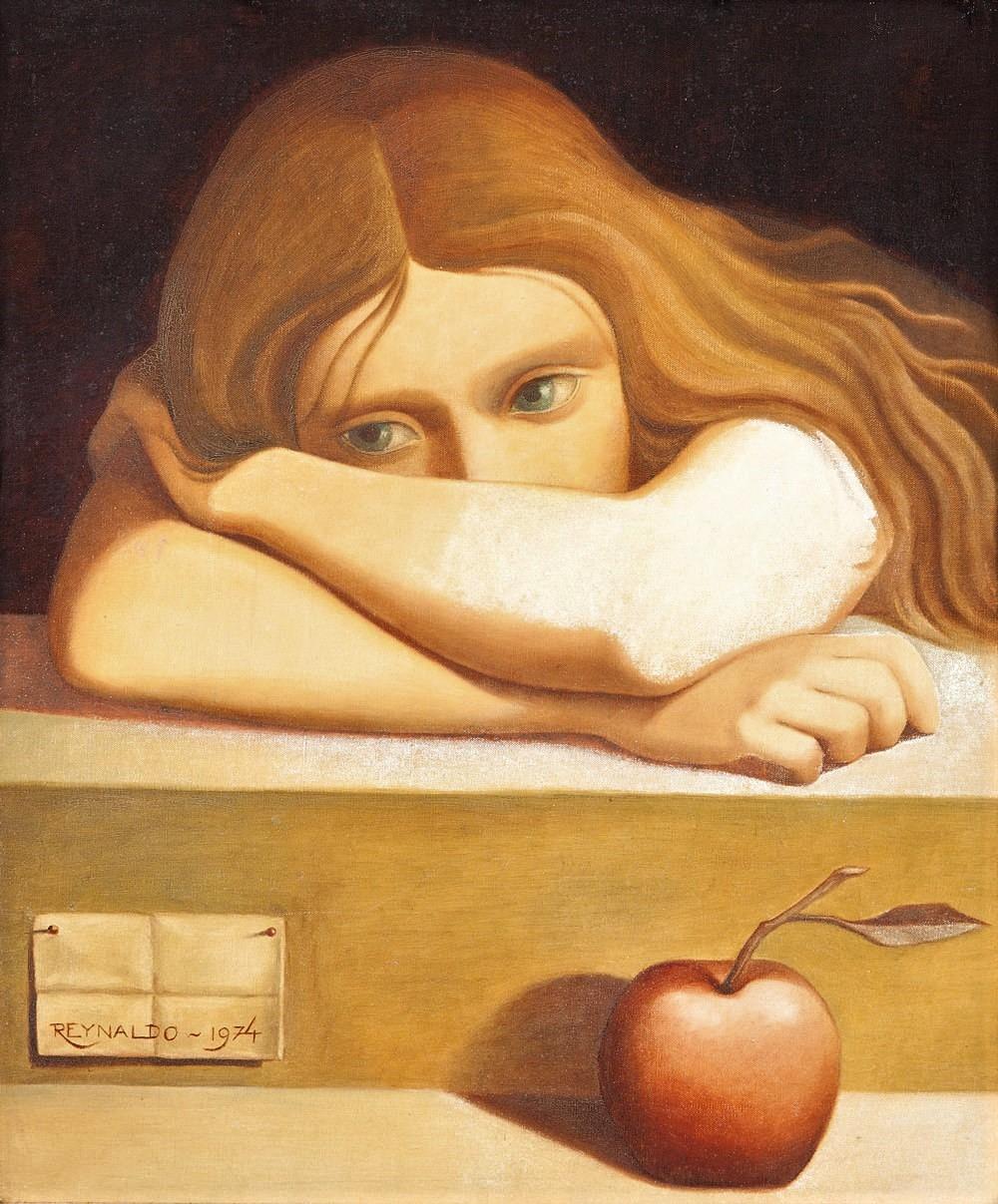 Reynaldo Fonseca (Brasil, 1925) Menina com Maça,1974,75 x 60 cm,óleo sobre tela