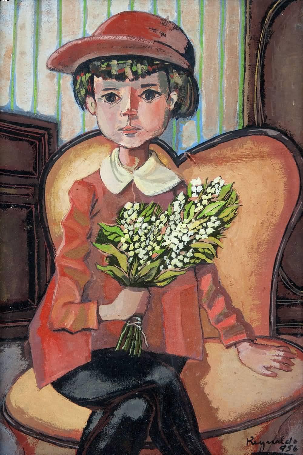 Reynaldo Fonseca (Brasil, 1925) Menina, tec mista sobre papel, 1956 48 x 31 cm