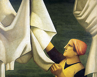 Reynaldo Fonseca (Brasil, 1925)Estendendo lençois, 1977, óleo sobre tela, 81x 100cm