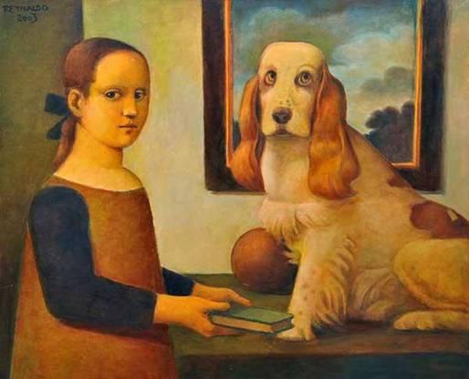 REYNALDO FONSECA(1925)O CachorroÓleo s telaAss; e datado 2003 cse e versoApresenta no verso selo da Galeria de Arte Ipanema81 x 100 cm