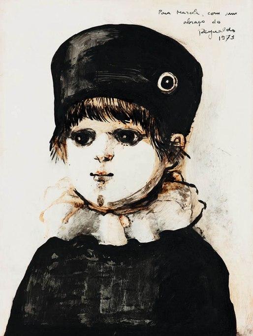 REYNALDO Fonseca,Menino,óleo s cartão, 1973,31 x 23 cm