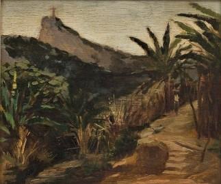 ANGELO BIGI (1891-1953). Cristo Redentor Visto por Santa Tereza óleo s madeira, 24 X 29