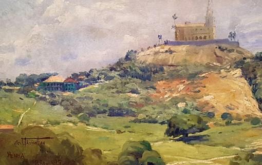 Arthur Thimoteo da Costam ,Paisagem com Igreja da Penha,Óleo sobre tela (1915), Coleção Particular