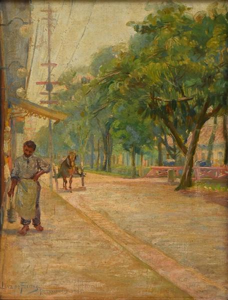 AUGUSTO LUIZ DE FREITAS (1868-1962). Avenida 15 de Novembro (Atualmente Rua do Imperador) - Petrópolis óleo stela, 33 X 26. Assinado, datado (1905) e localizado (Petrópolis) no c.i.e.